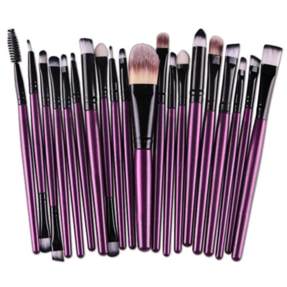 High Quality 20pcs Set Wooden Goat hair makeup brushes Professional make up brushes Home use Eyeliner Foundation Eyeshadow Brush(China)