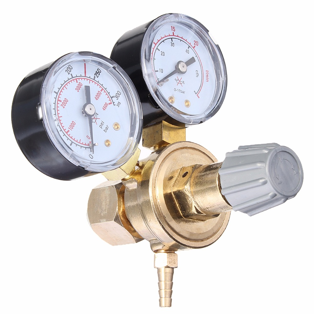 High Quality Dual Gauge Argon CO2 Pressure Reducer Flow Control Valve Welding Regulator FREE SHIPPING венто argon 2