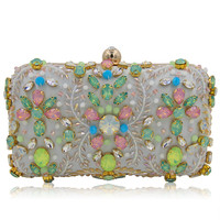 Women Plastic Stone Beaded Pearl Rivets Chains Metal White Evening Clutch Bag Mini Wedding Party Prom