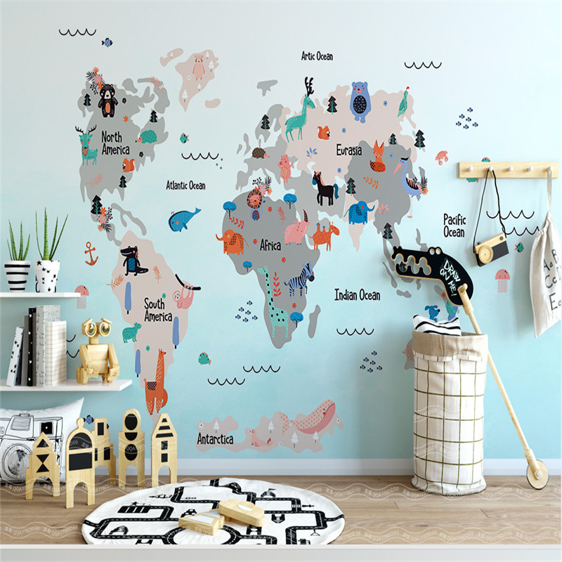 World Map Wallpapers for Kids Room 3D Wall Murals Custom Photo Wallpapers for Living Room Bedroom Home Decor Blue Walls Papers modern embossed 3d wallpapers rolls luxury striped wallpapers non woven desktop wall papers home decor bedroom walls coverings