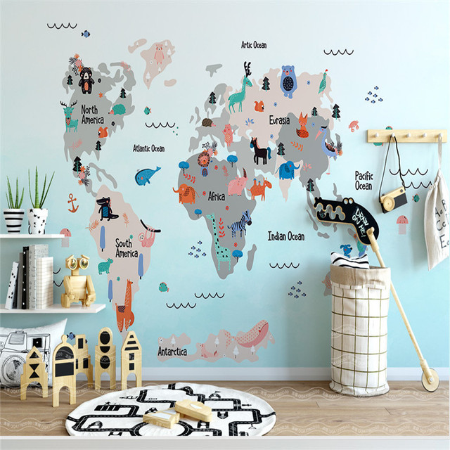World Map Wallpapers for Kids Room 3D Wall Murals Custom Photo ...