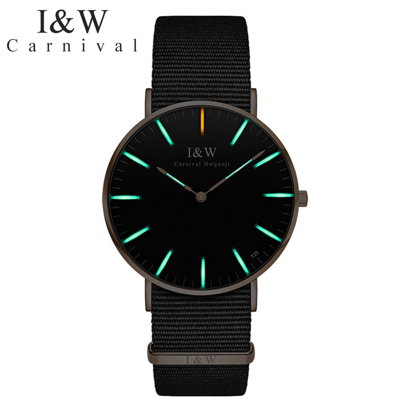 Original Carnival แฟชั่น Ultrathin tritium luminous นาฬิกาแบรนด์นาฬิกาควอตซ์ชายนาฬิกากันน้ำ Nylon band relogio masculino-ใน นาฬิกาควอตซ์ จาก นาฬิกาข้อมือ บน   1
