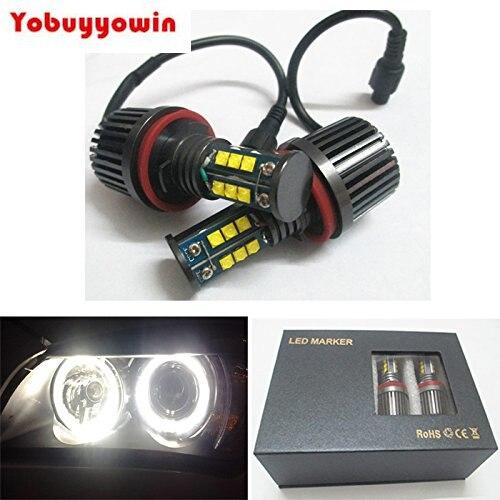 Error Free 2x H8 CREE Chips LED Car Halo Headlight Bulbs 6000K Angel Eyes for BMW E39 E53 E60 E61 E65 E66 E83 X5 (2x 120W)