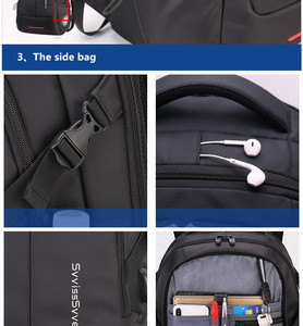 Image 4 - SWICKY multifunction large capacity male bag fashion travel usb charging waterproof anti theft 15.6inch laptop backpack men