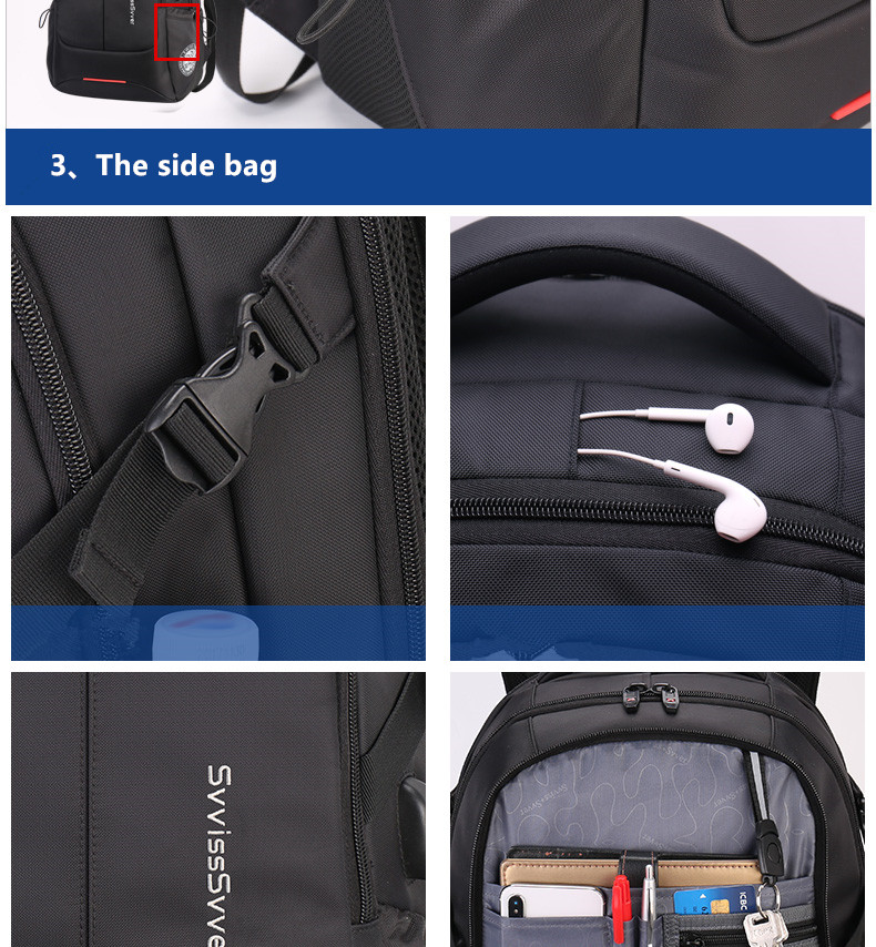 Image 4 - svvisssvver multifunction large capacity male bag fashion travel usb charging waterproof anti theft 15.6inch laptop backpack men-in Backpacks from Luggage & Bags