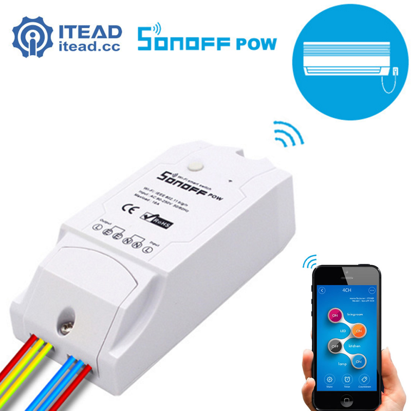 ITEAD Sonoff Pow - Wireless WiFi Switch ON/Off 16A With Real Time Power Consumption Measurement Home Appliance IOS Android itead sonoff pow wireless intelligent automation module switch wifi smart home remote power consumption measurement 16a 3500w