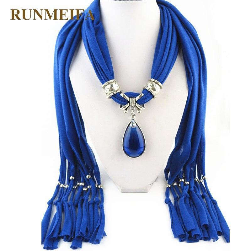 New Arrive 2018 Charm Blue Stone Gemstone Water Drop Raindrop Pendant Scarf Rhinestones Tassels Jewelry Scarves Free Shipping