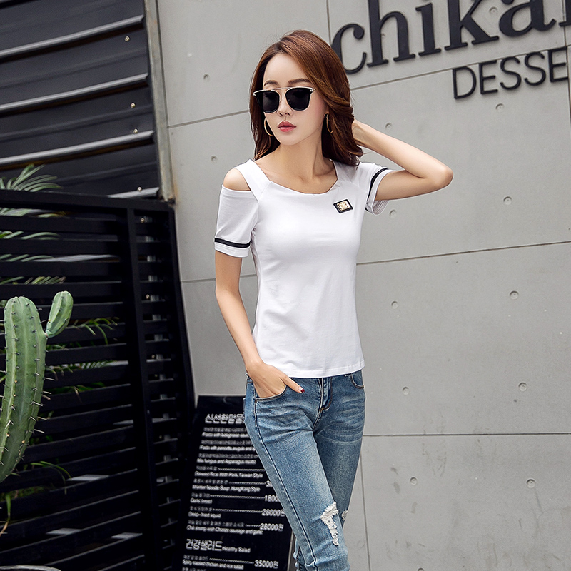 cc1531e364bbb Summer T Shirts Hot Sales Women Korea Style Short Sleeve 2018 Design Open  Shoulder Tops Red Black White Slim Fit Casual T Shirt-in T-Shirts from  Women s ...
