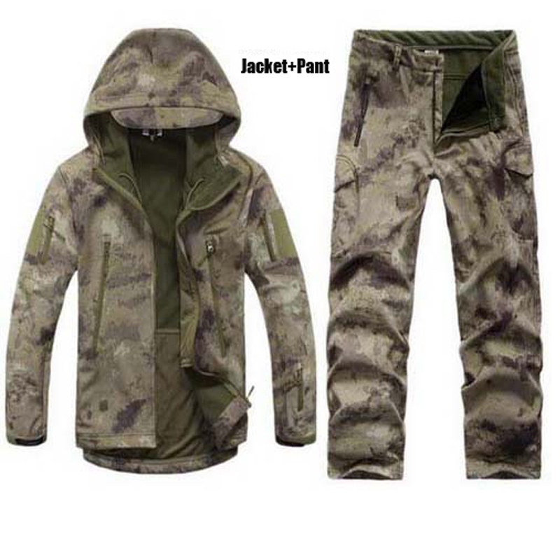 ФОТО Man Winter Waterproof Hunting Tactical Soft Shell Camouflage Hiking Outdoor Jacket Softshell Camping Hoodie Military Army Set S5