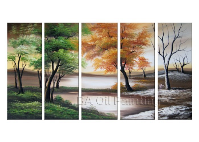 100% Hand Painted Modern 5 Piece 4 Season Trees Pictures Oil Paintings Trees On Canvas Wall Art Abstract Home Decoration Picture