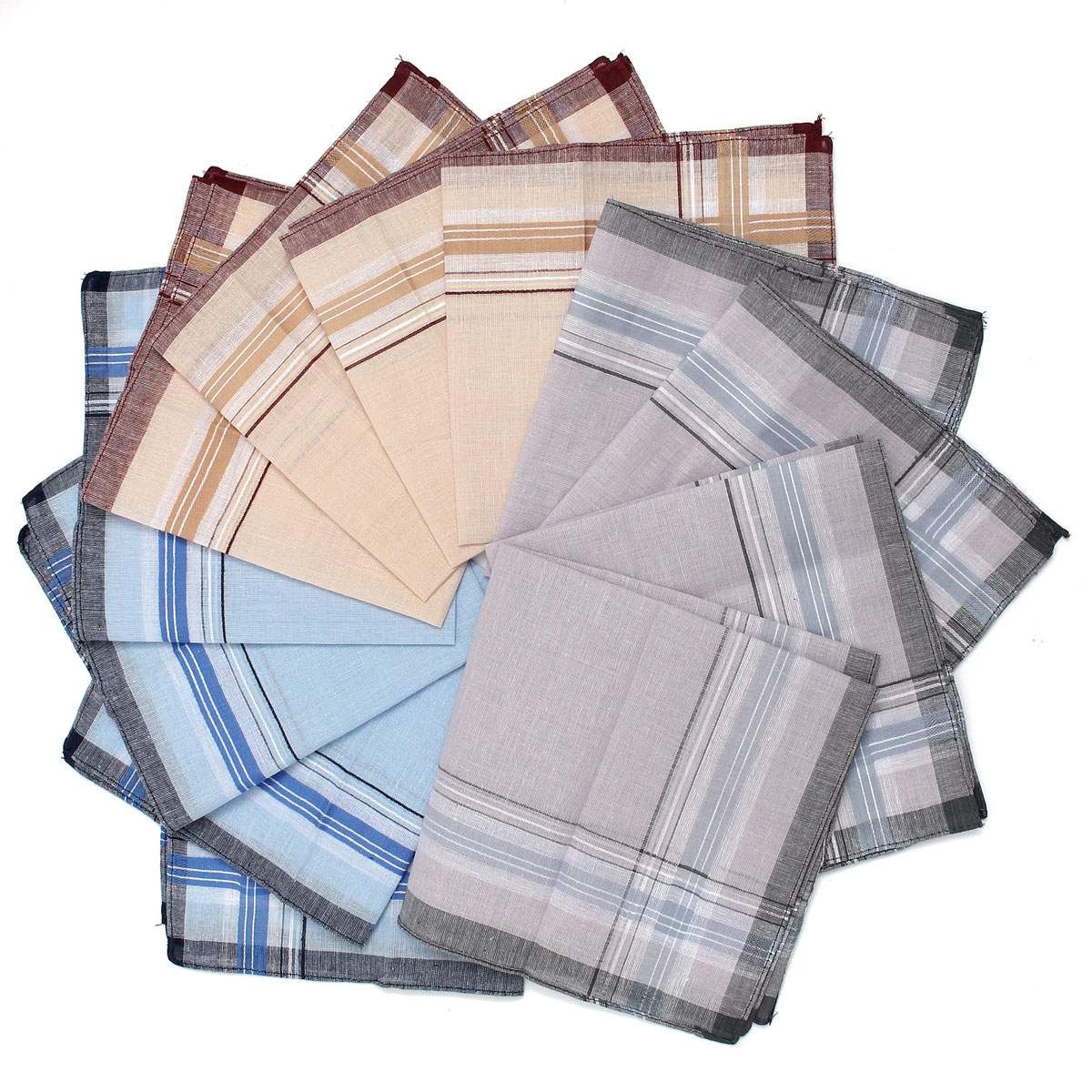 12pcs/lot Men Plaid Square Handkerchiefs, 36x36cm Cotton Soft Vintage Men's Business Suit Pockets Handkerchief Male Grid Hanky