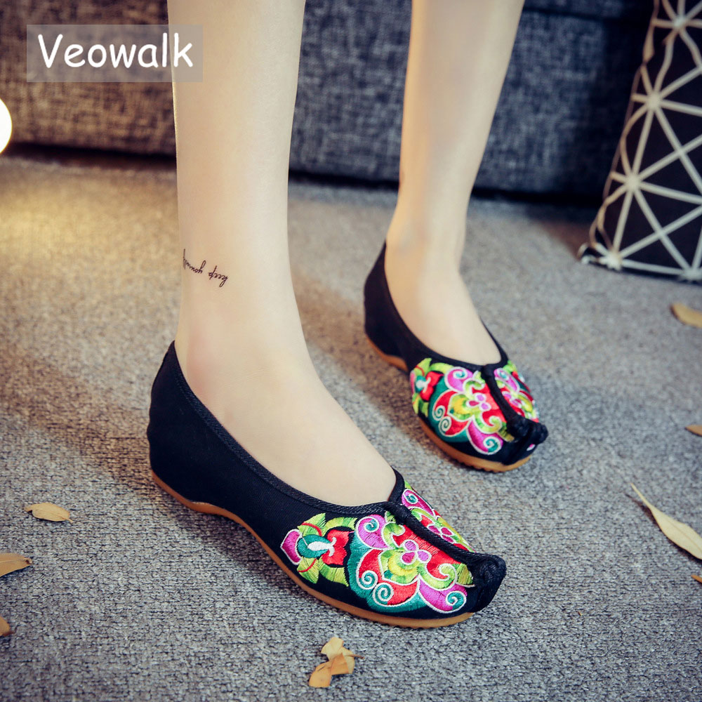 Veowalk Handmade Women's Flats Chinese Tradition Opera Embroidery Shoes Old Beijing Soft Sole Casual Breathable Cloth Shoes туфли beijing cloth shoes 102 2015