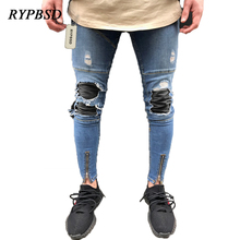 2017 Fashion Zipper Hole Skinny Ripped Jeans Men Distressed Denim Joggers Pants Moto Biker Washed Pleated Pencil Jeans 5 Colors