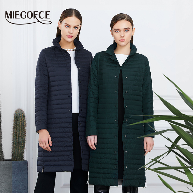 MIEGOFCE 2019 Women Cotton Padded Jacket Thin Women Quilted Parkas Long Spring Windproof Women's Spring Jackets Coats New Design 2