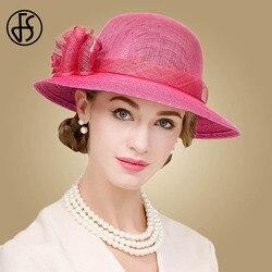 FS женская шляпа британская роза цветочные широкие поля льняные федоры для дам Sinamay церковные Шляпы свадебные Кентукки шляпа котелок