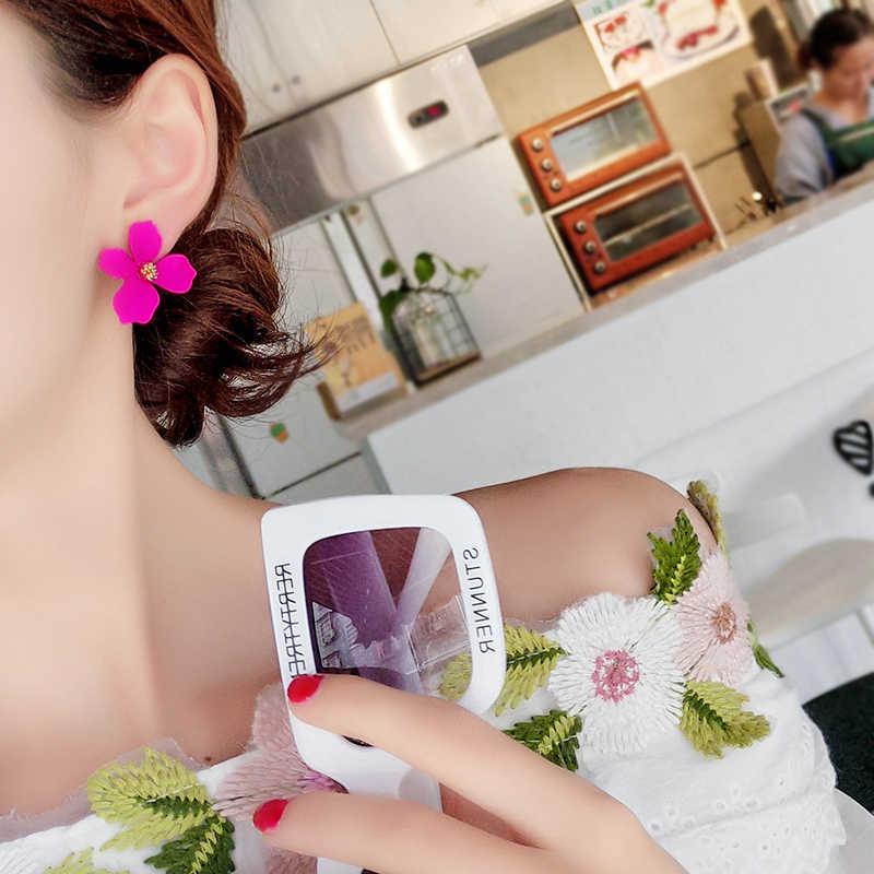 Шикарные женские серьги-гвоздики с большим цветком, 1 пара, модные женские серьги, 5 цветов, очаровательные, корейский стиль, сплав, распродажа, свадебные подарки