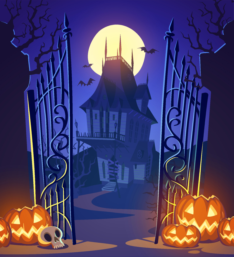huayi moon night castle photography pumpkin halloween backdrop xt3537china - Halloween Backdrop