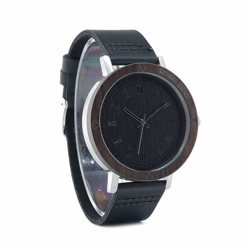 Image 4 - BOBO BIRD WK05 Mens Watch Rome Number Dial Face Soft Leather Band Japan Quartz 2035 Wristwatch Drop Shipping Accept OEM Relogio-in Quartz Watches from Watches