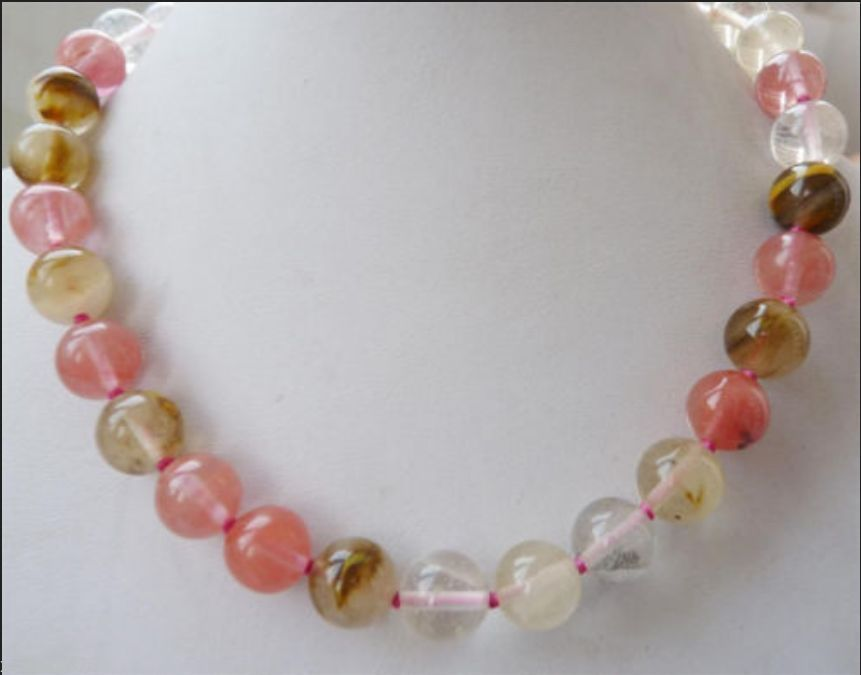NEW 10mm round multicolor <font><b>watermelon</b></font> <font><b>tourmaline</b></font> necklace 18inch AAA image