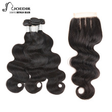 Joedir Pre-colored 3 Bundles With Closure 1 Pack Remy Brazilian Body Wave Human Hair Bundles Lace Closure Free Shipping