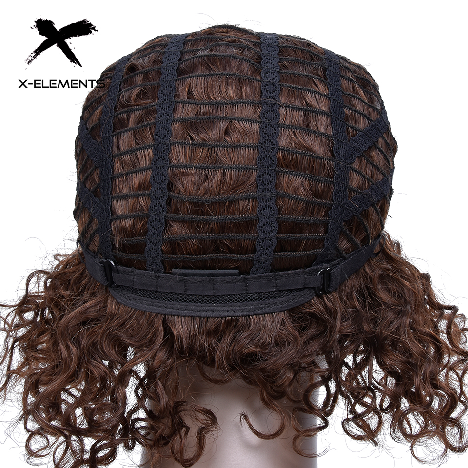 X-Element Brazilian Curly Short Human Hair Wigs with Baby Hair Non-Remy Machine Made Human Hair Wigs For Women H.ORA 6.75 Inches (10)