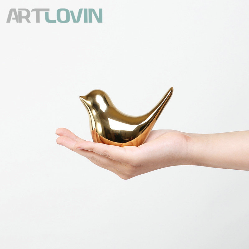 2019 Creative Gold Decorations Ceramic Golden Bird Figurines Home Decoration Accessories Bird Figure Fashion Wedding Ornaments in Figurines Miniatures from Home Garden