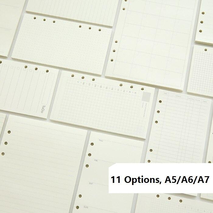A5 A6 A7 cahier à feuilles mobiles recharge spirale liant planificateur Page intérieure à l'intérieur du papier laitier hebdomadaire mensuel Plan à faire ligne grille de points