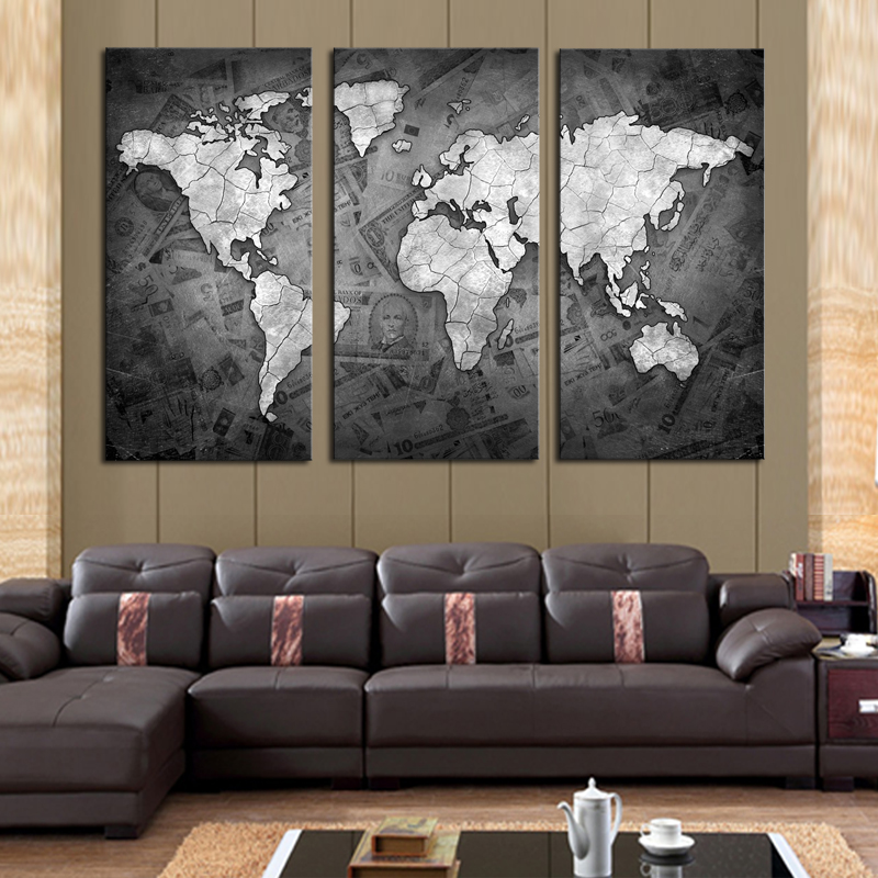 Frameless 3 pcs wall art classical grey color modern world map canvas painting contemporary artwork wall picture for living room in painting calligraphy
