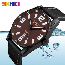 SKMEI Fashion Large Dial Men Quartz Watches Luxury Brand Leather 30M Waterproof Casual Wristwatches Relogio Masculino 9137 все цены