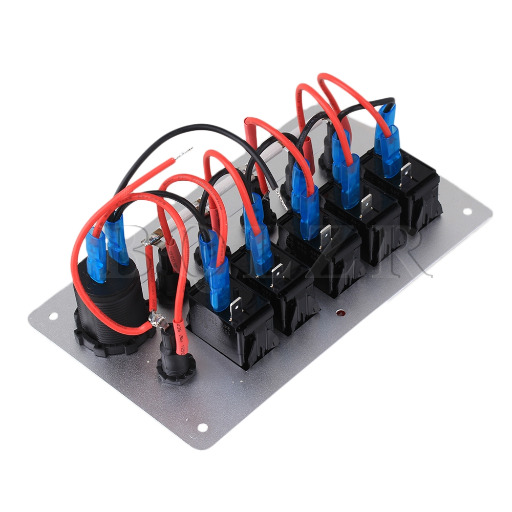 5gang Red Pattern Dc12v On Off Fuse Holder Rocker Switch Panel Power Junction Box Wiring Bq Socket Bqlzr In Switches From Lights Lighting Alibaba Group