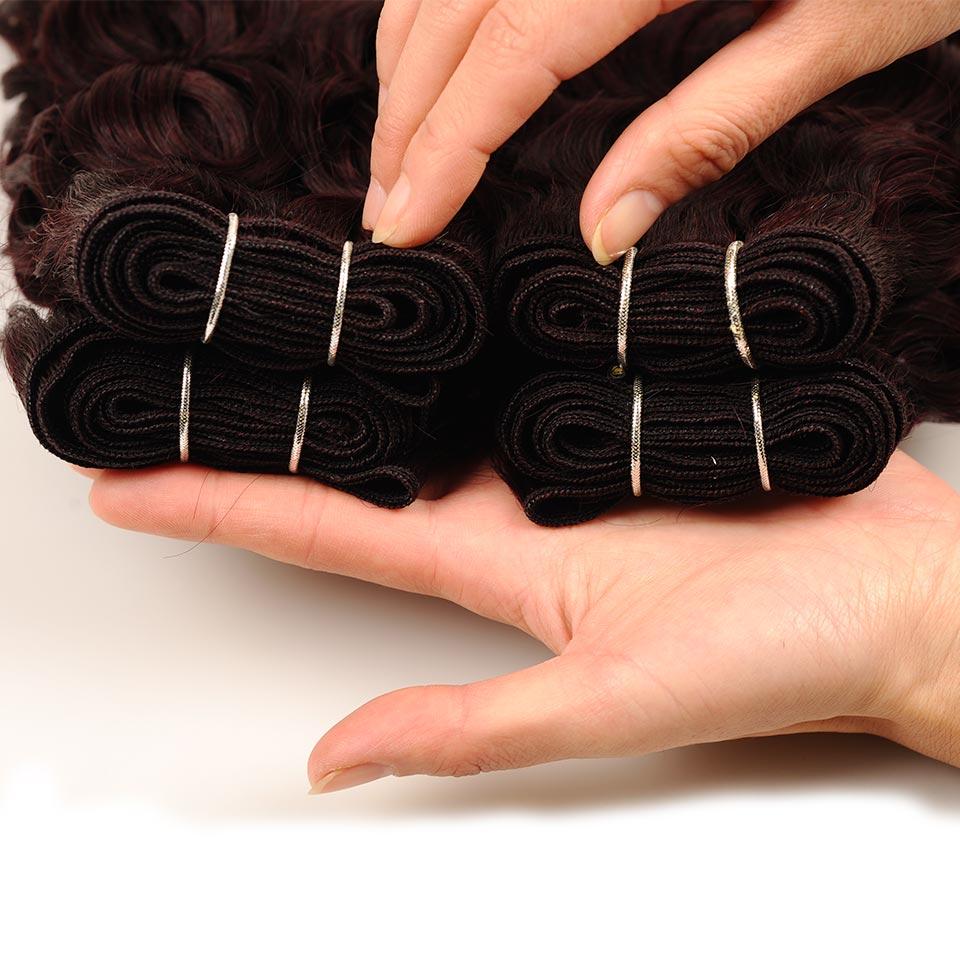 Pinshair Water Wave Hair Dark Red Peruvian 4 Bundles With Closure Burgundy Wet Wavy Non Remy Water Wave Human Hair With Closure (88)