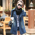 2015 Women's coats Long denim jacket clothes Autumn winter Slim cotton jackets denim jeans outerwear coat for women