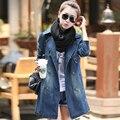 2015 mujeres abrigos chaqueta larga de mezclilla ropa otoño invierno delgado de algodón chaquetas denim jeans abrigos coat para mujeres