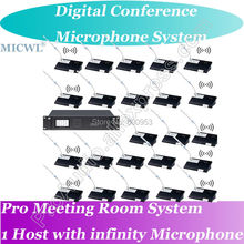 MICWL Professional Wireless Microphone Digital Conference System - 1 President 60 Delegates Desk Unit