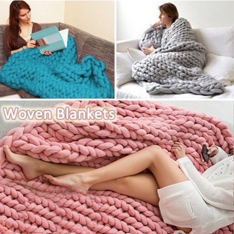 Hand Chunky Knitted Blanket Thick Yarn Merino Wool Bulky Knitting Throw Blankets Nordic Chunky Blanket DropShipping