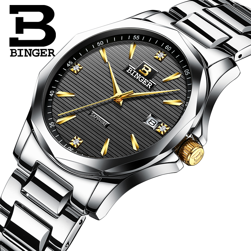 BINGER люксовый бренд золотые указки часы мужские спортивные кварцевые часы календарь мужские s часы полностью стальные деловые водонепрониц...