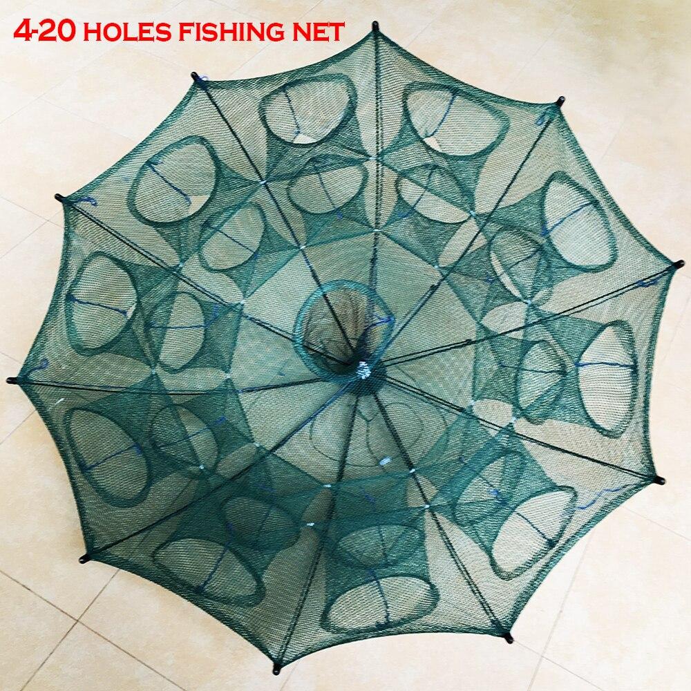 NEUE 4-20 Löcher Automatische Klapp Fischernetz Garnelen Käfig Nylon Faltbare Crab Fish Trap Cast Net Cast Klapp angeln Netzwerk