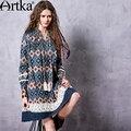 Primavera das artka mulheres boho moda a linha one piece-dress de manga comprida casual camisa azul rendas dress vestido la10562q