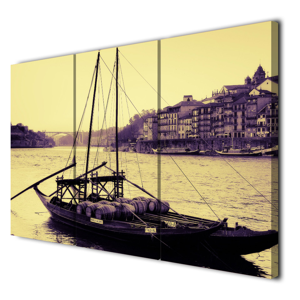 Art Painting Modular HD Printed Canvas Poster 3 Panel Portugal City River Boat Framework Home Decor Living Room Wall Pictures