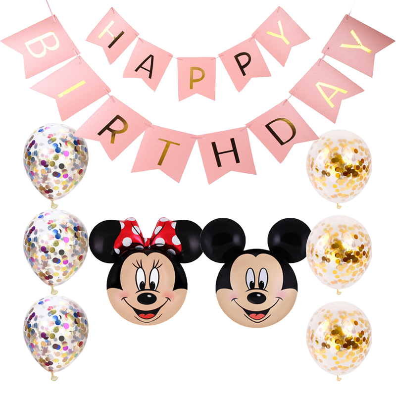 Mickey minnie decoration foil balloons carton Minnie mouse birthday party supplies latex confetti de mariage baby shower balls