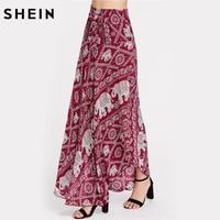 SHEIN Asymmetrical Long Skirt Multicolor Mid Waist Bohemian Skirts Geometric Elephant Print Bow Tie Detailed Skirt