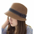 Womens Fascinator Summer Bow Straw hat Fashion Lovely Sun hat Folding Travel Beach Cap