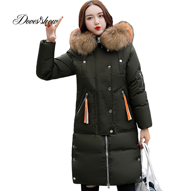 Hooded Elastic Fur Collar Winter   Down     Coat   Jacket Thick Warm Slim Women Casaco Feminino Abrigos Mujer Invierno 2018 Parkas 605