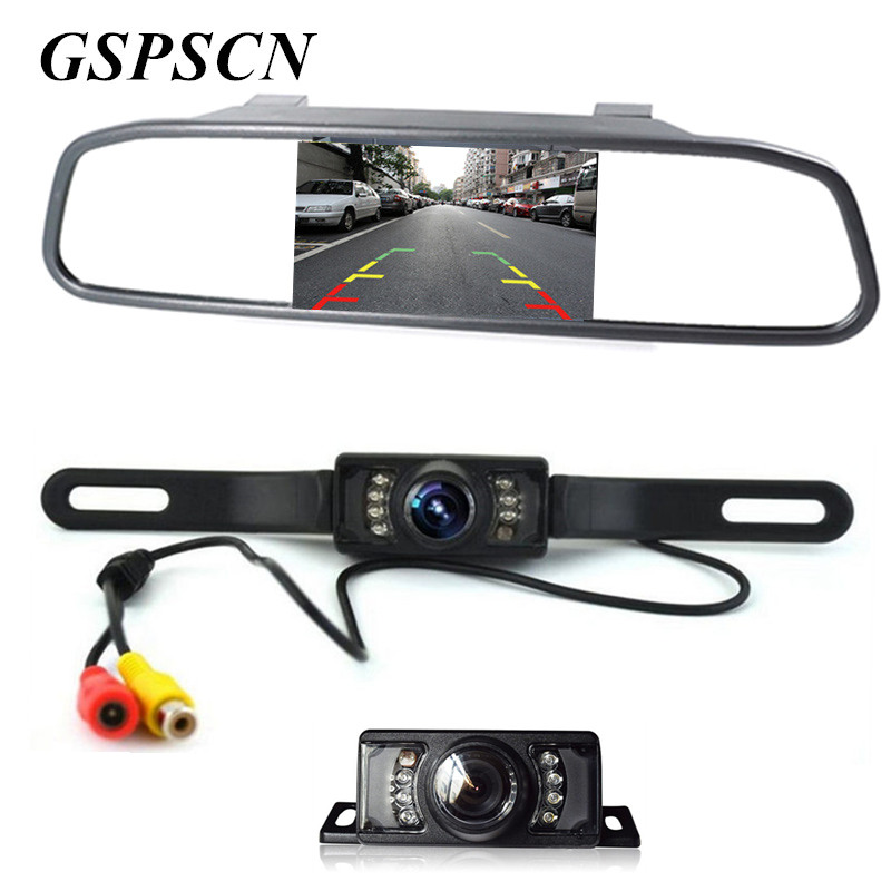 GSPSCN Car License Plate 7 Infrared Rear-view HD Car Reverse Rearview Camera + 4.3 Inch LCD Mirror Monitor Screen Display Kit hd 7 lcd car mirror monitor parking dvd vcd gps tv screen car europe license plate frame rearview camera w 4 led night vision
