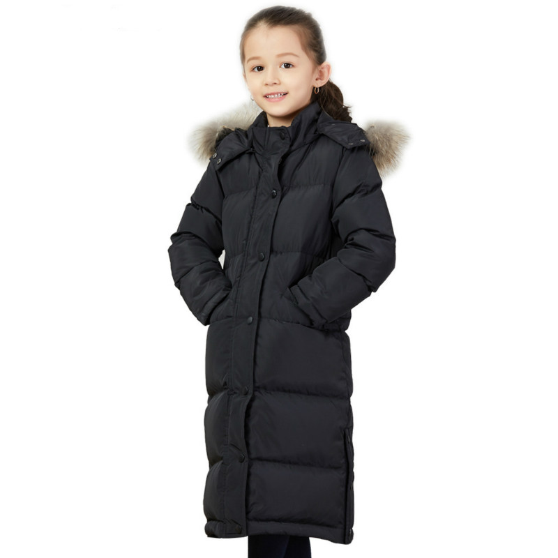 New Down Jacket Boys and Girls Fur Collar Thickening Fashionable Children Knee Oversized Children Winter Coat Down Jacket pu leather and corduroy spliced zip up down jacket