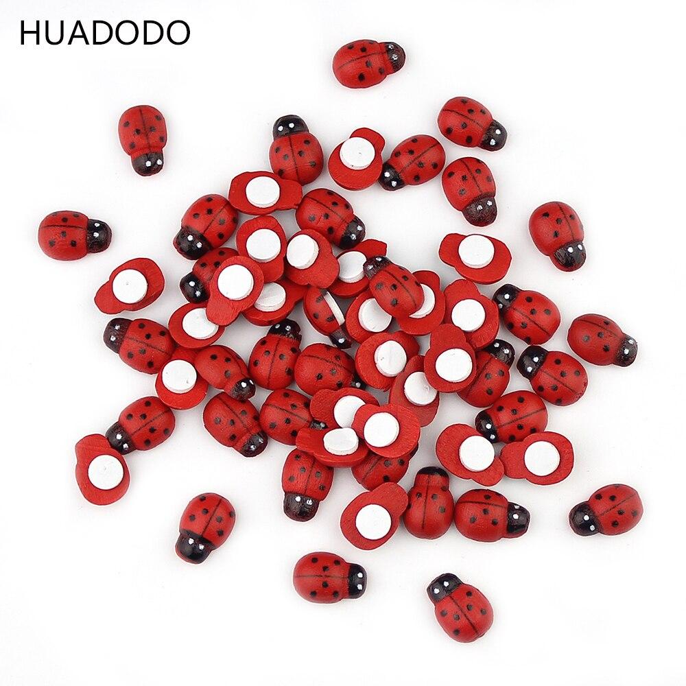 HUADODO 100 шт./лот красный Деревянный Божья коровка губка самоклеящиеся наклейки DIY скрапбукинг украшения дома