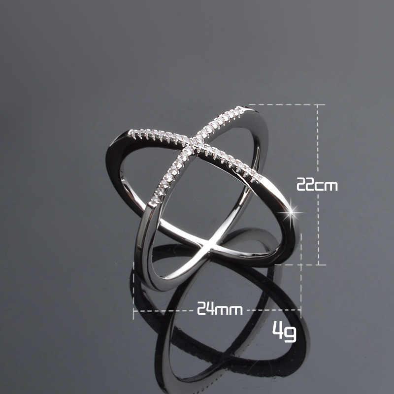 Простые Серебристые цветные X модельные кольца для женщин инкрустация CZ вечерние украшения для пальцев девушка подарок дропшиппинг