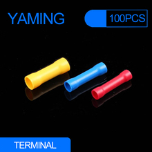 100pcs/lot BV1.25 BV2 BV5.5 Assorted Insulated Electrical Wire Cable Terminal Straight Butt Connector Crimp Terminals BV1 BV5