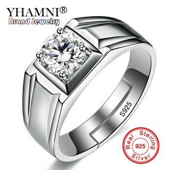 7e9c53fdb82b YHAMNI de los hombres de la moda anillos ajustable Natural 925 anillos de  plata esterlina de joyería de la boda de 1 quilate 6mm CZ anillo de circón  hombre ...