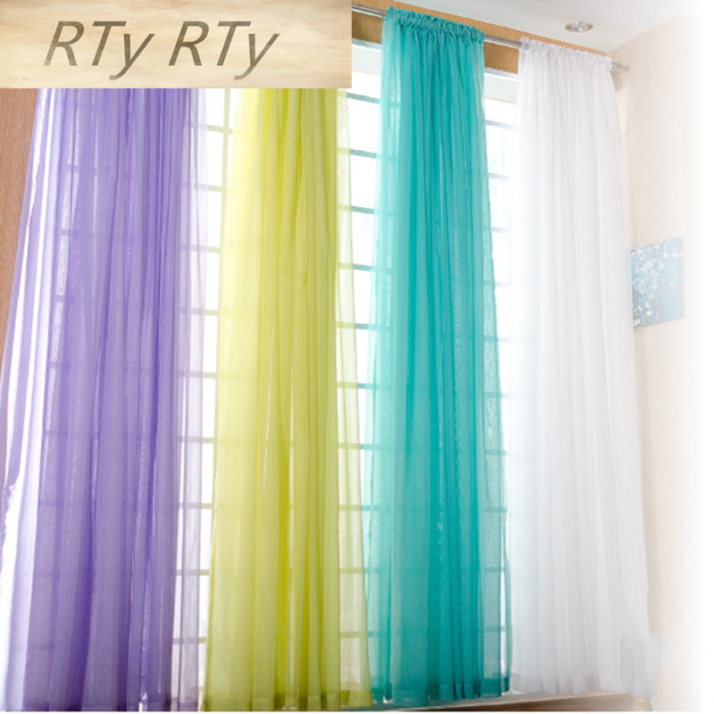 European And American Style White Window Screening Solid Door Curtains Drape Panel Sheer Tulle For Living Room